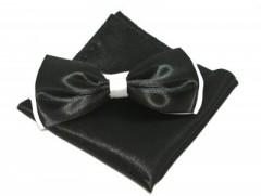 Szatén csokornyakkendő szett - Fekete-fehér Csokornyakkendő