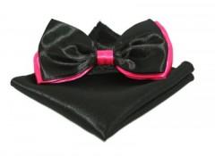 Szatén csokornyakkendő szett - Fekete-pink Csokornyakkendő
