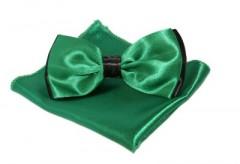 Szatén csokornyakkendő szett - Zöld-fekete Csokornyakkendő