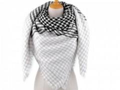 Női sálkendő tyúkláb mintás - Fekete-fehér