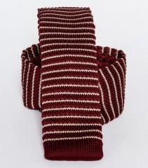 Prémium  kötött nyakkendő - Fehér-bordó csíkos Kötött nyakkendők