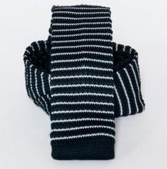 Prémium  kötött nyakkendő - Sötétkék-fehér csikos Kötött nyakkendők