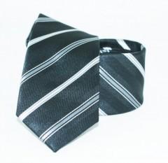 Goldenland slim nyakkendő - Fekete-ezüst csíkos Csíkos nyakkendő