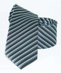 Goldenland slim nyakkendő - Ezüst-fekete csíkos Csíkos nyakkendő