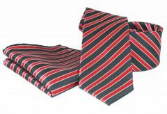 Goldenland nyakkendő szett - Fekete-piros csíkos Szettek