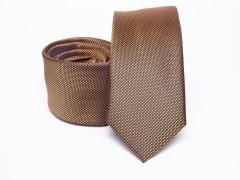 Prémium selyem slim nyakkendő - Barna Selyem nyakkendők
