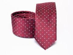 Prémium selyem slim nyakkendő - Bordó pöttyös Selyem nyakkendők