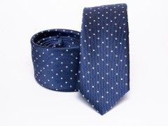 Prémium selyem slim nyakkendő - Kék pöttyös Selyem nyakkendők