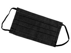 Pamut egyrétegű szájmaszk füles gumival - Fekete Egészségügyi termék
