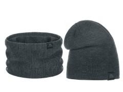 Téli sapka és nyakmelegítő szett - Sötétszürke Női kalap, sapka