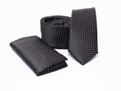 Prémium slim nyakkendő szett - Fekete pöttyös Nyakkendő szettek