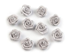 Mini textil virág 10 db/csomag - Ezüst Kitűzők, Brossok