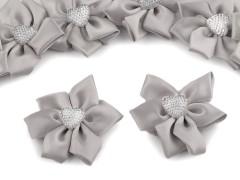 Szaténvirág kövekkel - Ezüst Kitűzők, Brossok