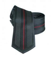 NM slim nyakkendő - Fekete-piros mintás Aprómintás nyakkendő
