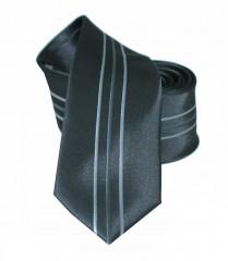 NM slim nyakkendő - Fekete-szürke csíkos Csíkos nyakkendő