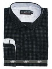 NM hosszúujjú ing 80% pamut - Fekete pöttyös Normál fazon