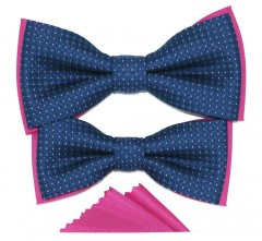 Apa-fia csokornyakkendő szett - Kék-pink Apa-fia szett