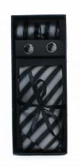 NM Díszdobozos nyakkendő szett - Fekete-szürke csíkos Kockás nyakkendők