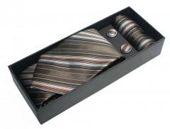 NM nyakkendő szett - Barna csíkos Szettek