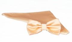 NM szatén csokornyakkendő szett - Púderbarack Csokornyakkendő