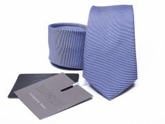 Prémium selyem slim nyakkendő - Kék Selyem nyakkendők