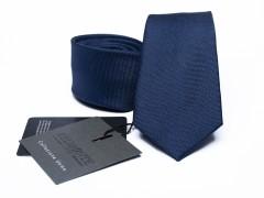 Prémium selyem slim nyakkendő - Sötétkék Selyem nyakkendők
