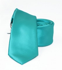 NM slim szatén nyakkendő - Türkízzöld