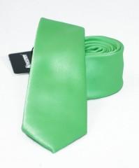 NM slim szatén nyakkendő - Kiwizöld Egyszínű nyakkendő