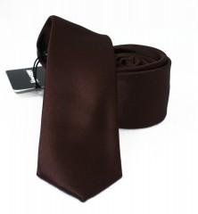 NM slim szatén nyakkendő - Sötétbarna