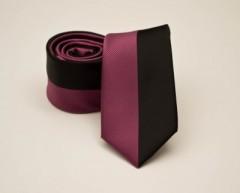 Prémium slim nyakkendő -  Pink-fekete csíkos Mintás nyakkendők