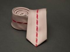 Prémium slim nyakkendő -  Púder-piros mintás Mintás nyakkendők